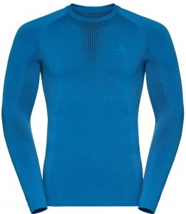 Koszulka tech. męska Odlo Suw Top Crew neck l/s Performance Warm C/O Blue