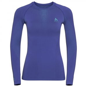 Koszulka tech. damska Odlo Performance Warm Bl Top Crew neck l/s C/O Blue