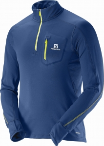 Salomon Trail Runner Warm LS Zip Midnight Blue
