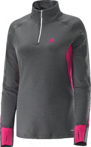 Bluza Salomon Trail Runner Warm Ls Zip W Galet Grey